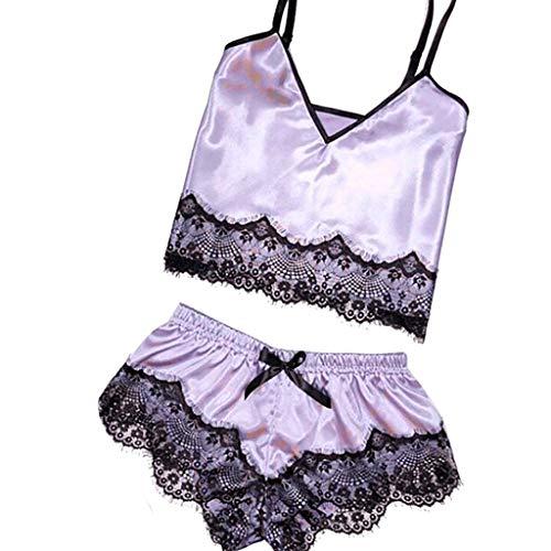 (Womens Sleepwear Sexy Lingerie Lace Satin Pajamas Nightwear Cami Camisole Sleep Shorts Set (S, Purple))
