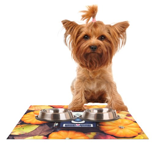 KESS InHouse Libertad Leal The Four Seasons  Fall Feeding Mat for Pet Bowl, 18 by 13-Inch