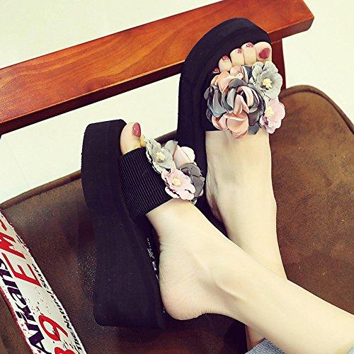 femminili EU38 2 tacco Colore in moda da 3 estive comode 5 spesso tessuto spiaggia cinghie Pantofole dimensioni fondo antiscivolo alto CN38 scarpe UK5 gU5fxqp