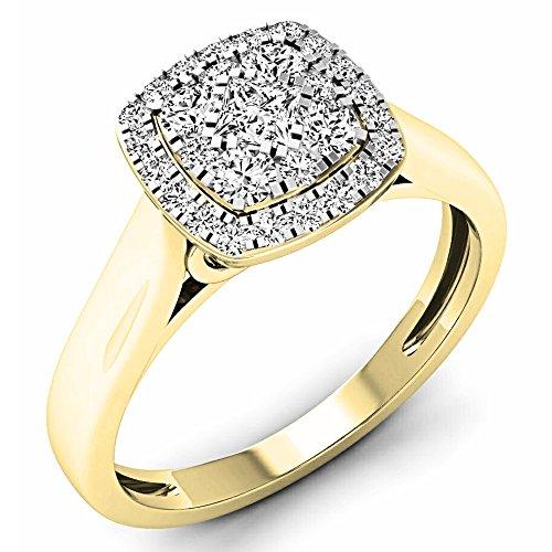 Dazzlingrock Collection 0.50 Carat (ctw) 14K White Diamond Ladies Cluster Engagement Ring 1/2 CT, Yellow Gold, Size 5