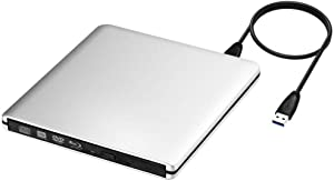 External Aluminum USB C USB 3.0 3D Blu-ray Burner DVD CD Writer Drive Compatible with 2012 to 2019 MacBook Air MacBook Pro New iMac and All Windows Pcs