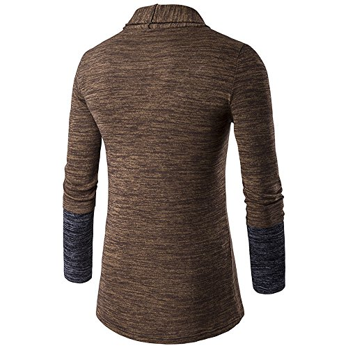 Knitted Shirt Outwear Mens Front Cardigan Coffee Trench Long Cardigan HARRYSTORE Slim Long Coat Jumpers Knitwear Knitted Sleeve Fit Open wBTXxxdZq