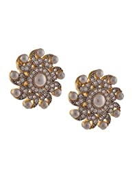 Zephyrr Fashion Stud Earrings American Diamond Gold with Pearls For Women