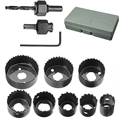 "Hole Saw Set, Drillpro 11 PCS Hole Saw Kit 3/4'' - 2 1/2 ""inch for Woodworking"
