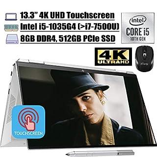 "2020 Newest HP Spectre x360 2 in 1 Laptop 13.3"" 4K UHD Touchscreen Intel Quad-Core i5-1035G4 (Beats i7-7500U) 8GB DDR4 512GB PCIe SSD Thunderbolt Backlit FP AlexaPen Win 10 + iCarp Wireless Mouse"