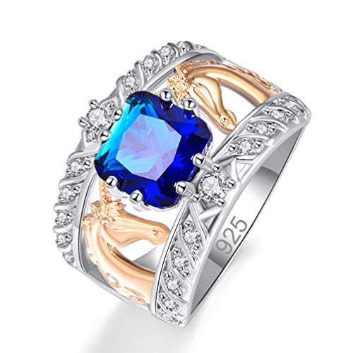 - Psiroy 925 Sterling Silver Created Blue Sapphire Quartz Filled Cushion Cut Two Tone Unicorn Wide Band Ring for Women Size 8