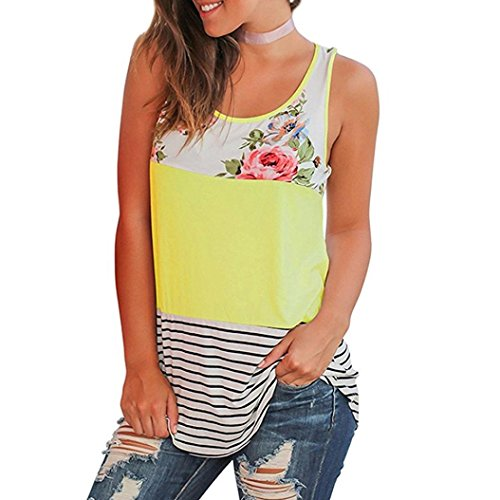 (Women Blouse Casual Floral Stripe Print Patchwork Sleeveless T Shirt Yellow)