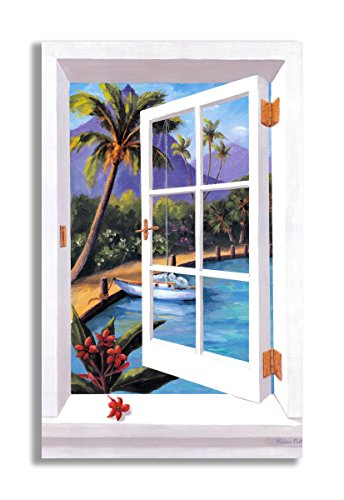 Stupell Home Décor Tropical Faux Window Scene, 22 x 0.5 x...