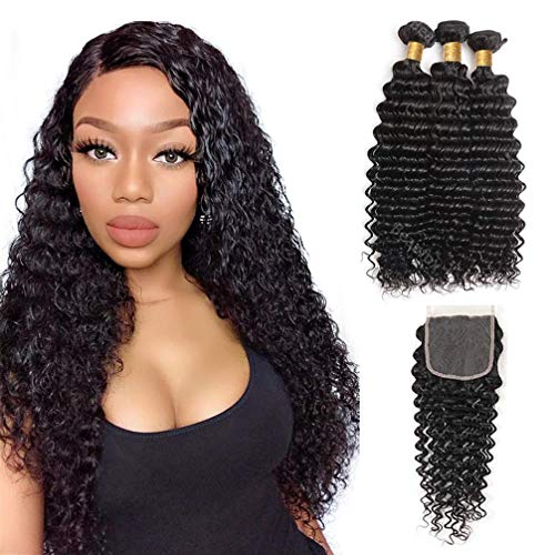 BEAUFOX Brazilian Hair Deep Wave 3 Bundles With Closure Human Hair Extensions Virgin Hair Natural Color Can Be Dyed and Bleached (18 20 22 + 16, Natural Color)