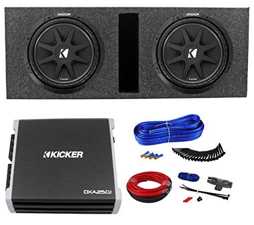 2 Kicker Comp 10 C10-4 Car Subwoofers+Sub Box+DXA250.1 Amplifier+09DPK8 Amp Kit (C10 Box)