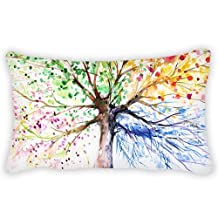 Watercolor Colorful Tree Throw Pillow Case Cushion Cover For Couch Sofa Home Office Decorative 20x30 Inches