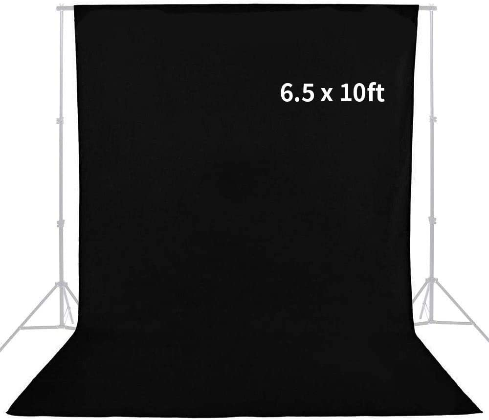 MOUNTDOG 6.5 x 10ft Black Backdrop Background for Photography, Polyester Fabric Chromakey Black Photo Backdrop Curtain Background Screen Collapsible Seamless for Photo Video Studio(Stand NOT Included)