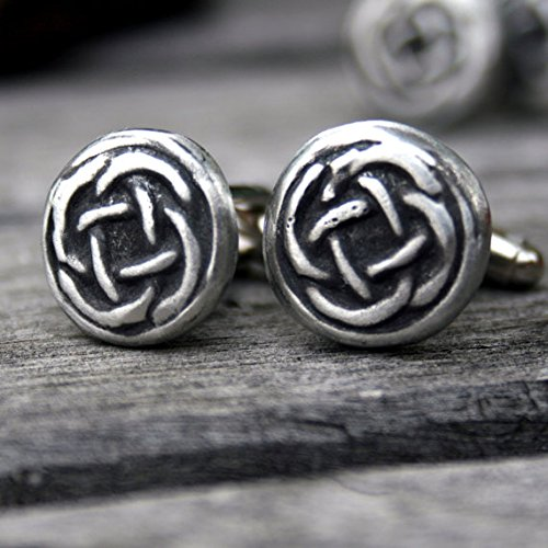 (Cufflinks - Rustic Celtic Knot - Handcrafted Pewter Cuff links )
