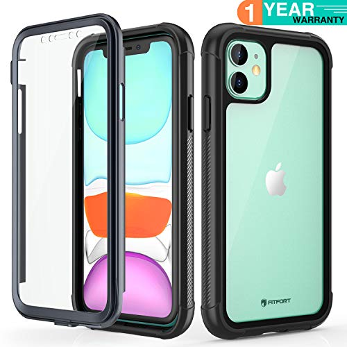 iPhone 11 Case with Screen Protector - FITFORT Full-Body Rugged Heavy Duty Clear Bumper Case, Shock Drop Proof Impact Resist Extreme Durable Protective Case Compatible with iPhone 11 (6.1'')