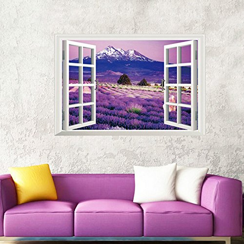 Ghaif A wide range of 3D simulation landscape at the windows of the living room bedroom school dorm posters sofa TV wall mount B lavender floral large 85cm57cm