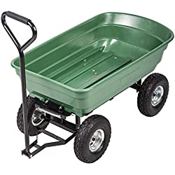 "BestMassage Garden Cart Utility Yard Dump Cart Wagon Carrier Wheelbarrow 4 Air Tires with Poly Pulling Wagon 10"" Pneumatic Tires,Heavy Duty Steel Frame"