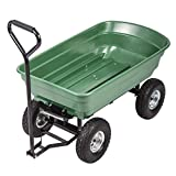 BestMassage Garden Cart Utility Yard Dump Cart Wagon Carrier Wheelbarrow 4 Air Tires with Poly Pulling Wagon 10'' Pneumatic Tires,Heavy Duty Steel Frame