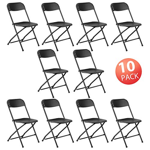 Kealive Folding Chair 10 Pack Fold Chair 330 lbs Weight Capacity for Events, Premium Lifetime Fold Up Chair Portable 18 L x 18 W x 31 H, Black