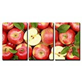 wall26-3 Piece Canvas Wall Art - Group of Red Apples with Their Leaves - Modern Home Decor Stretched and Framed Ready to Hang - 16''x24''x3 Panels