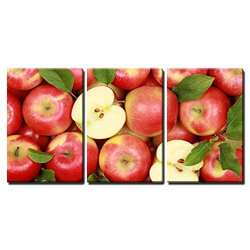 wall26 - 3 Piece Canvas Wall Art - Group of Red Apples with Their Leaves - Modern Home Decor Stretched and Framed Ready to Hang - 16
