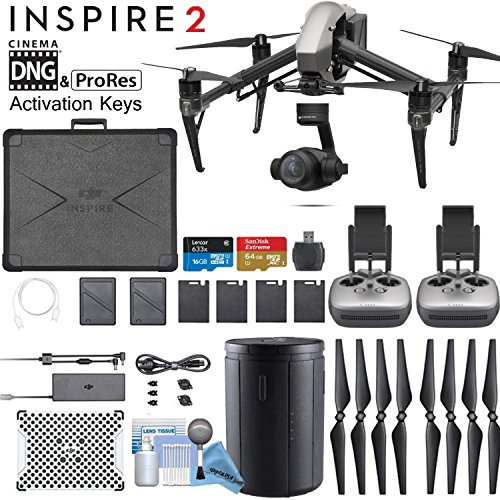 DJI INSPIRE 2 Quadcopter Drone with Zenmuse X4S 3-Axis Gimbal/Camera - CinemaDNG & Apple Pro Res License Keys - Dual...
