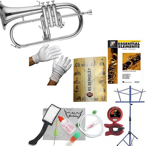 RS Berkeley flu669 Signature Series Silver Plated Flugelhorn with case & Bonus RSB MEGA PACK w/Essential Elements Book by RS Berkeley
