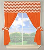 BabyDoll Chevron Window Valance and Curtain Set, Orange