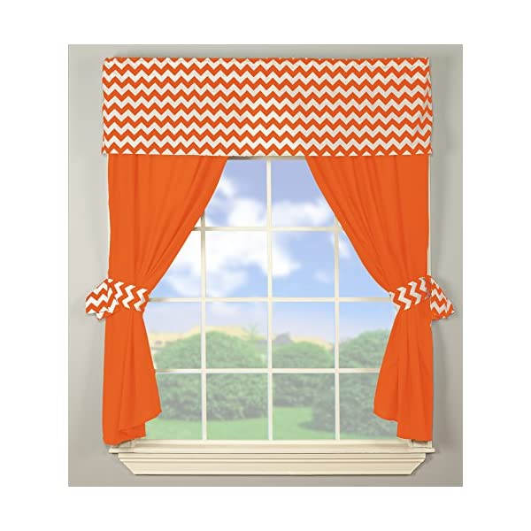 Baby Doll Bedding Chevron Window Valance and Curtain Set, Orange