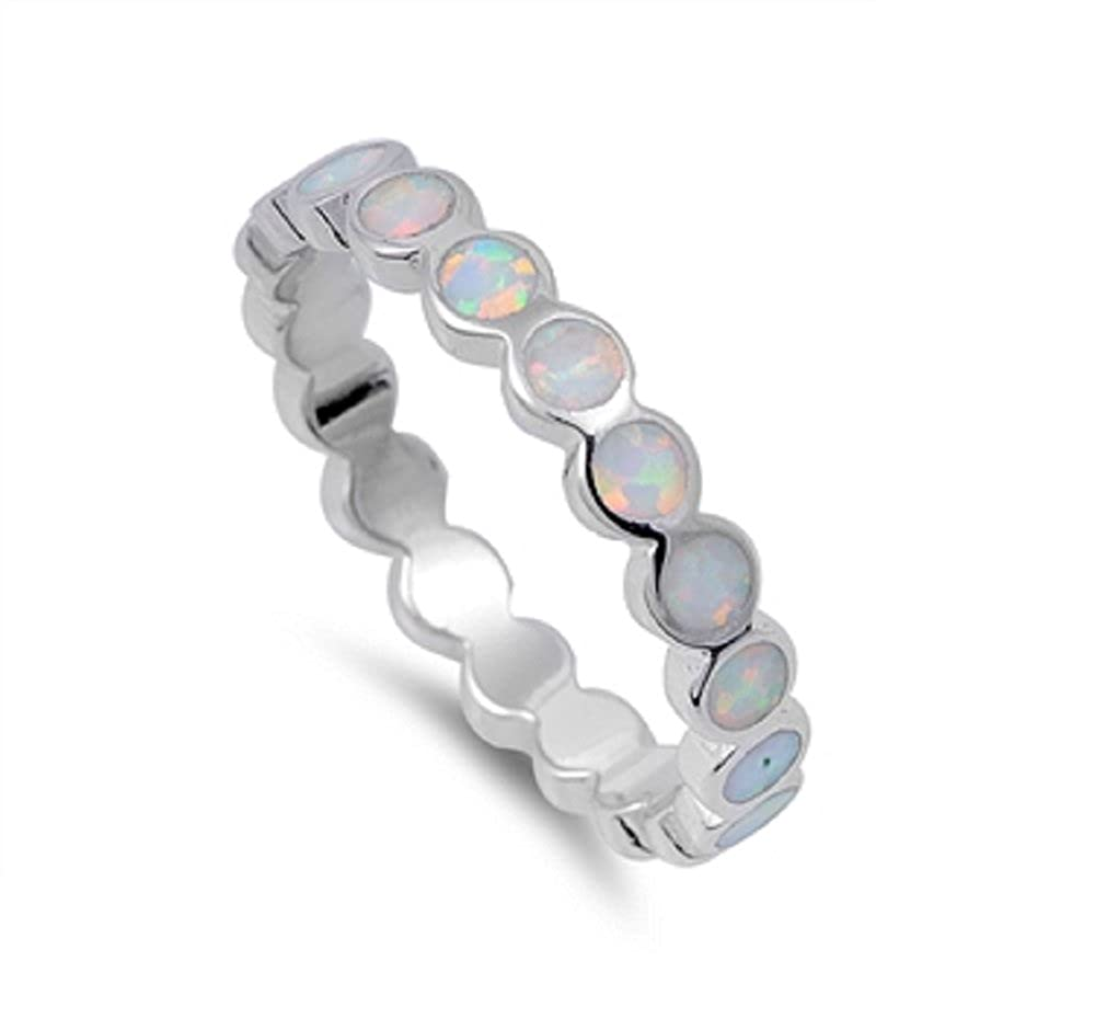 CloseoutWarehouse Round Eternity Simulated Opal 925 Sterling Silver