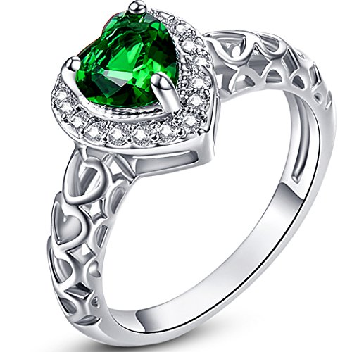Narica Womens Brilliant 6mmx6mm Heart Shaped Emerald Quartz Cubic Zirconia Engagement Ring