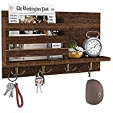 Amada Key Holder Mail Organizer Wall Mount with 4 Double Key Hooks Floating Shelf Rustic Wood Decorative Hanger for Entryway, Storage, Living Room, Hallway, Kitchen (Color: Brown)