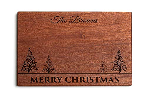 Personalized Gifts Couples Cutting Board - Wood Cutting Boards Bridal Shower, Housewarming, and Wedding Gifts (10 x 15 Mahogany Rectangular, Merry Christmas with trees Design)