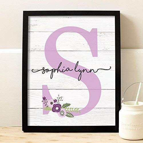 Personalized Girls Room Signs - Girls Monogram Framed Print | Choose Your Color | Girls Wood Nursery | Rustic Nursery | Nursery Name Decor | Pink Nursery Sign | Girls Room | Girls Room Decor | Dorm Decor | Tween Girls Gift