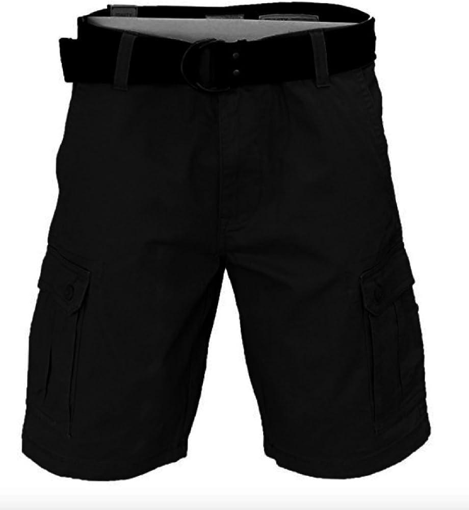 38, Black Trinity Mens Belted Cargo Shorts