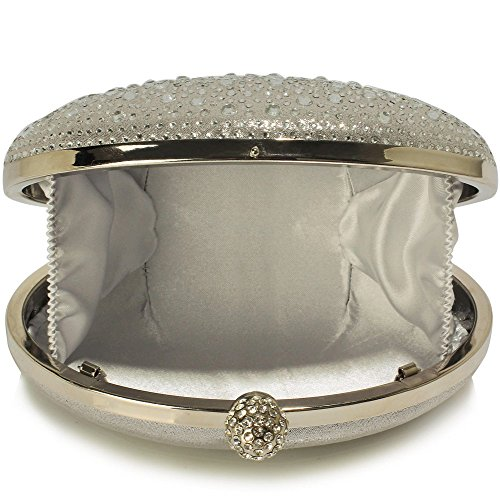 Gorgeous Clutch FREE UK DELIVERY Silver Evening Bag Diamante Design fqHwfr6