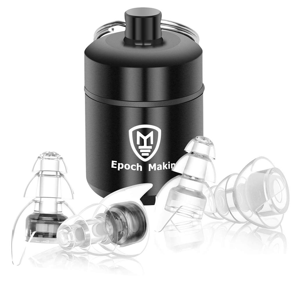 Epoch Making Hearing Protection Earplugs High Fidelity Noise Canceling Silicone Reusable Earplugs with Aluminum Box for Live Music, Concerts, Clubs, Festival, Musicians, DJ, Drumming (Black)