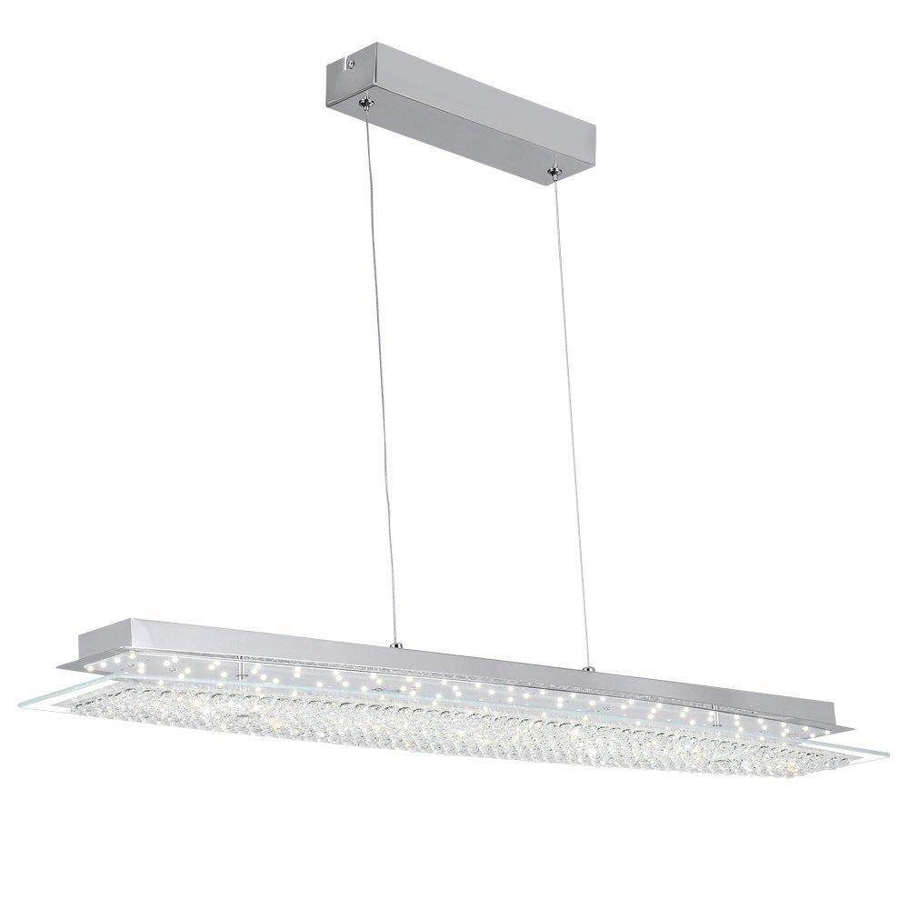 AUDIAN Pendant Light Pendant Lamp Dimmable LED Modern Chandelier K9 Crystal Bead Ceiling Flush Pendant Lamp for Living Room Restaurant Sitting Room L35.4W7.9H59.1