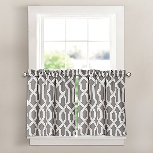 Lush Decor 16T000354 Edward Trellis Room Darkening Window Curtain Kitchen Tier Set, 26 inch x 24 inch, Gray, Set of 2