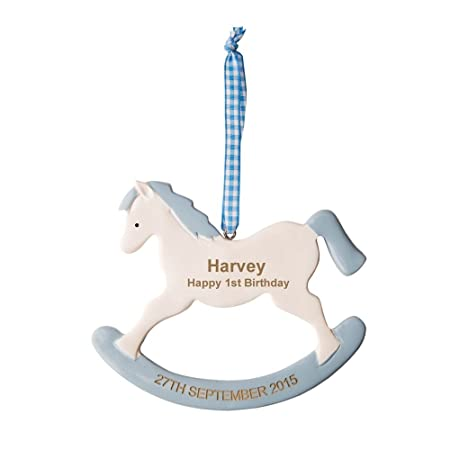Personalised Boys 1st Birthday Gift Engraved Blue Rocking Horse Baby Keepsake Gifts Amazoncouk Kitchen Home