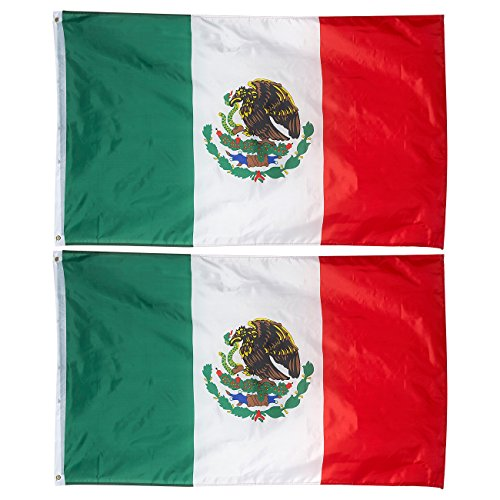 Juvale 2-Piece Mexico Flags - Outdoor 3x5 Feet Mexican Flags, MX National Flag Banners, Double Stitched Polyester Flags with Brass Grommets, Decorations for Parties and Festivals, 3 x 5 Feet