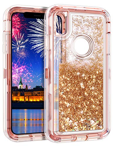 Wollony iPhone Xs Max Case,Heavy Duty Liquid Bling Quicksand Glitter Case iPhone Xs MAX 360 Full Body Shockproof Hard Bumper + Non-Slip Soft Clear Rubber Protective Cover (Rose Gold)