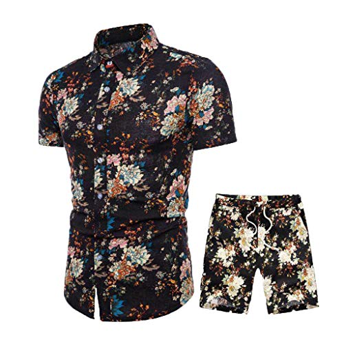 (VEZAD Summer New Comfortable Fashion Short Sleeve and Short Pants Printing Men's Suit )