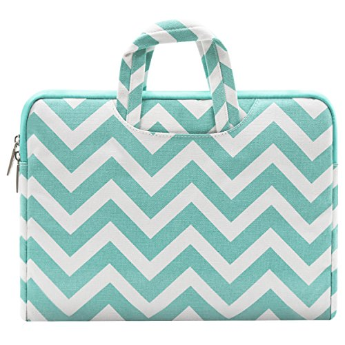 Mosiso Laptop Sleeve Briefcase Handbag 13-13.3 Inch MacBook Pro, MacBook Air, Notebook Computer, Chevron Style Canvas Fabric Carrying Case Cover Bag, Hot Blue
