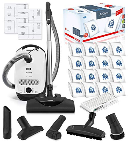Miele Classic C1 Cat and Dog Canister HEPA Vacuum Cleaner with SEB228 Powerhead Bundle – Includes Miele Performance Pack 16 Type GN AirClean Genuine FilterBags + Genuine HEPA Filter