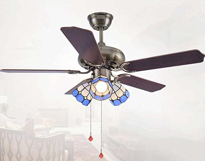 Plafoniere Per Ventilatori A Soffitto : Ventilatore da soffitto a led con lampadari in stile tiffany luce