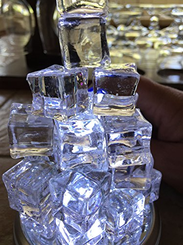 60 Pcs Crystal Clear Acrylic Ice Cubes Square Shape For