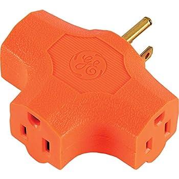 2pk GE Heavy Duty 3-Way T-Shape Tap Adaptor Grounded Outlet Splitter ...