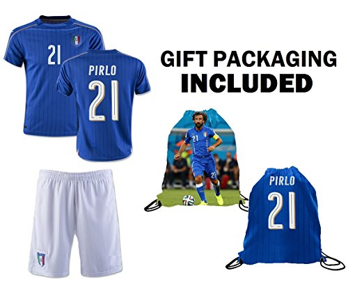 2d25cec784e Fan Kitbag Pirlo  21 Italy Youth Home Away Soccer Jersey   Shorts Kids  Premium