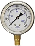 PIC Gauge PRO-201L-254P Glycerin Filled Industrial Bottom Mount Pressure Gauge with Stainless Steel Case, Brass Internals, Plastic Lens, 2-1/2'' Dial Size, 1/4'' Male NPT, 0/3000 psi