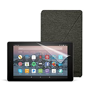 Fire HD 8 Essentials Bundle with Fire HD 8 Tablet (32 GB, Black), Amazon Cover (Charcoal Black) and Screen Protector (Clear)